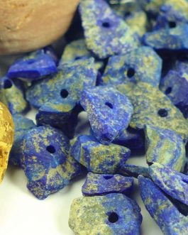 Lapis Lazuli Rough Cut Beads with Holes
